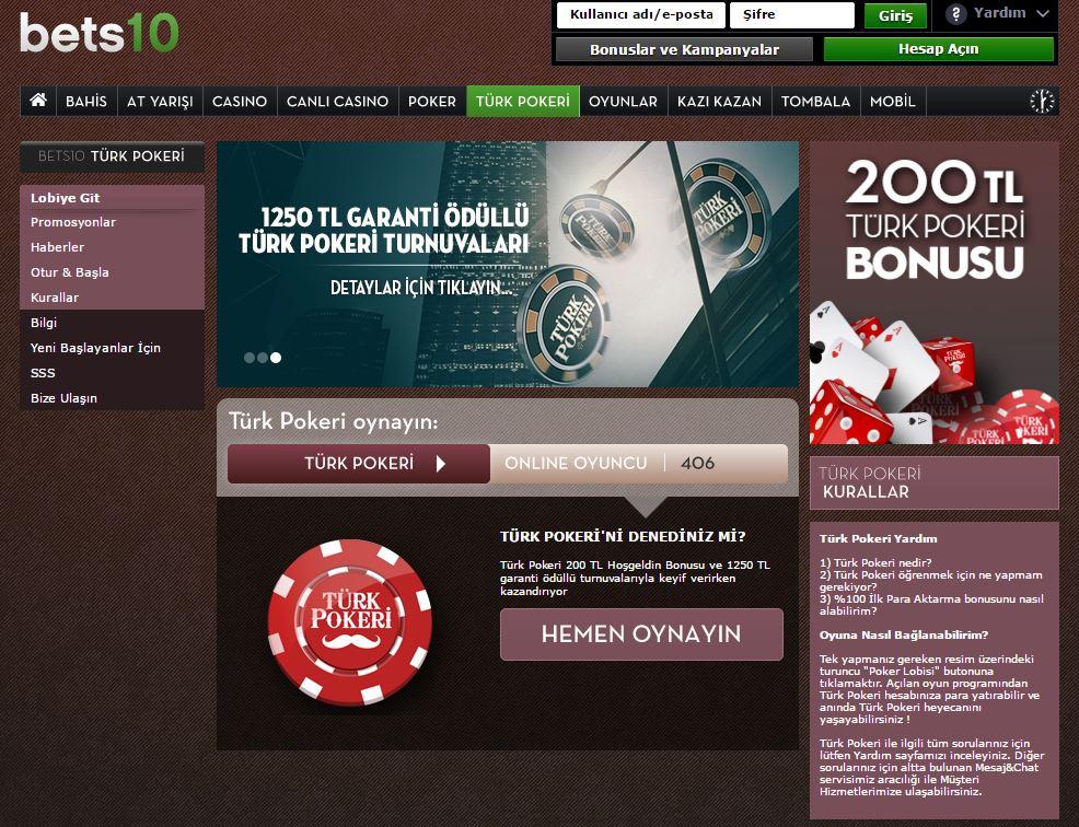 Bets10 Türk Pokeri Oyunu